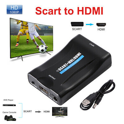 1X 1080P SCART to HDMI Up Scaler Video Converter HDTV STB VHS XBox PS3 AH198
