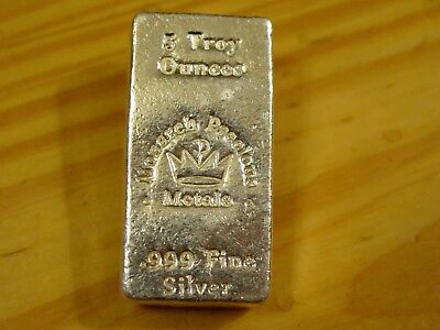 "5 Troy Oz Mpm ""chunky"" Poured Bar, 5 Troy Ounces Of .999 Fine Silver Total"