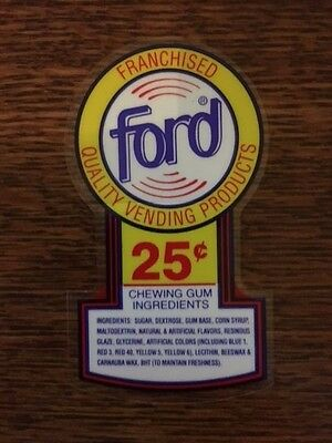1 Original Ford 25 Cent .25 PRICE DECAL STICKER Gumball Vending Machine