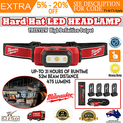 Milwaukee LED Torch Rechargeable Headlamp Cordless USB Cap Light Safety Hard Hat