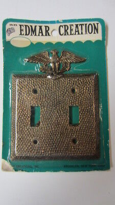 Vintage Edmar Creation Hammered Brass Eagle Double Light Switch Plate, NIP (MD)