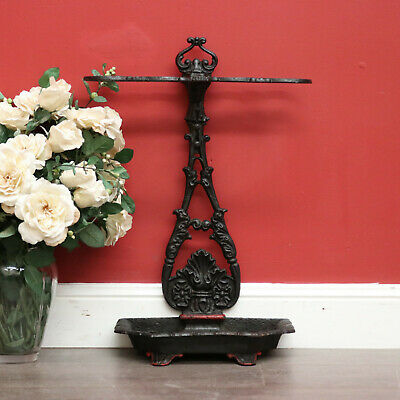 Antique Black and Red Cast Iron Floor Standing 4 Hole Umbrella Holder Stand