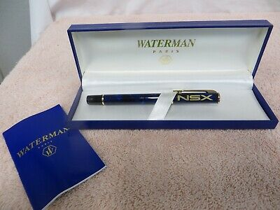 Acura NSX Roller Ball Pen -- Blue Marble Colored Barrel - Waterman New Old Stock