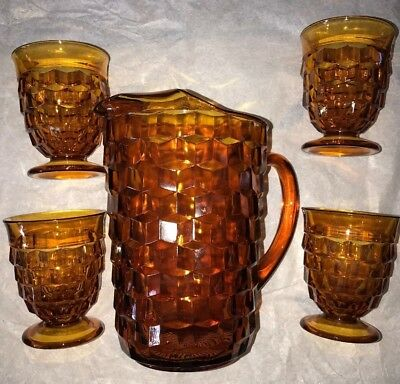 Vintage Indiana Colony Glass AMBER Whitehall Pitcher and matching footed glasses