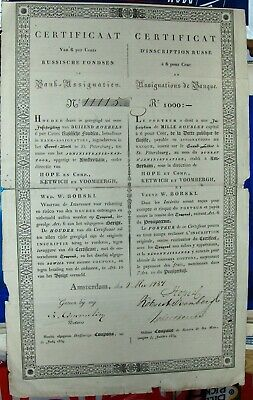 6% loan Russian Government 1000 Rubles bond dated 1837, Amsterdam