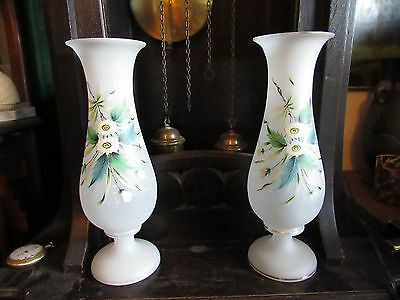 Pair of Large Bristol Glass Mirrored Image Hand Painted PontIL Victorian Glass