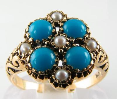 Large 9K 9Ct Gold Persian Turquoise & Pearl 9 Stone Art Deco Ins Ring Free Size