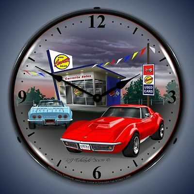 New 1968 Chevrolet Corvette & old used car lot LIGHTED clock Fast Ship USA made