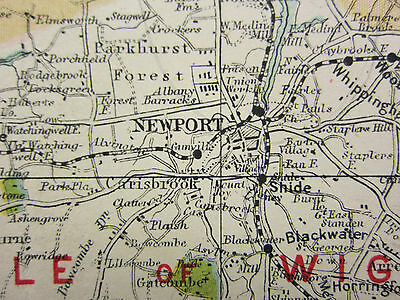 1920 County Map Hampshire South Sheet Isle Of Wight Fareham Portsmouth Railways