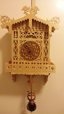 ONE-OF-A-KIND-UNIQUE HAND MADE-LASER CUT Wood Wall Mounted Clock with Pendulum