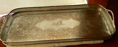 Antique Sheffield Silverplate Large Rectangle Gallery Footed Tray Monogram MBM