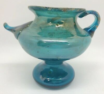 "Ancient Roman 4"" Blown Glass Blue-Green Vessel Pot Vase or Bottle (RF-fr10)"