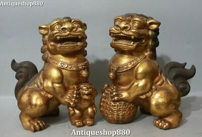 """6.3/""""Collect Chinese Fengshui Bronze Zodiac Animal Lovable Tiger Pine Tree Statue"""