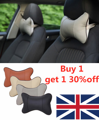 Leather Breathable Travel Head Neck Rest Headrest Support Cushion Pillow UK