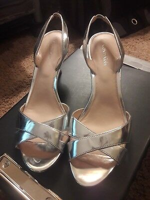 b80c2c702fb NEW Womens Calvin Klein Lucette Silver Patent Leather Slingback Heels Size  9.5M