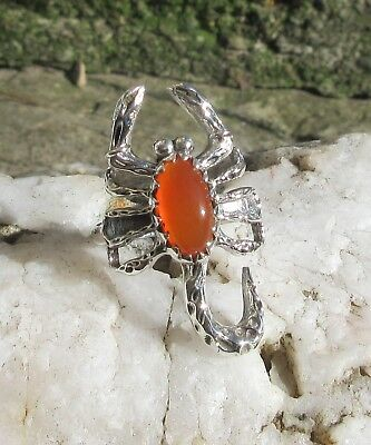 Ring Scorpio Carnelian Red Stone of the September Sterling Silver 925