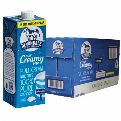 10x Devondale Full Cream UHT Long Life Milk 1L