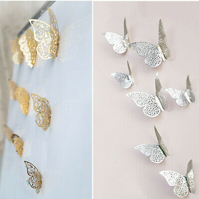 12 Pcs 3D Hollow Wall Stickers Gold Silver Butterfly Fridge Home Decoration New