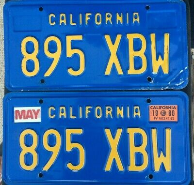 California License Plates 895 XBW 1980 Pair Year Of Manufacture DMV Clear Set