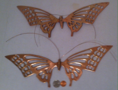2 Vintage Metal Brass Set of 2 Butterflies, Wall Hangings, Home Decor