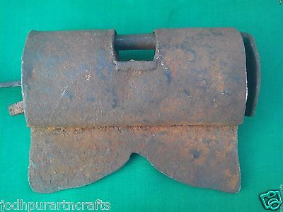 V. Rare Old Antique Vintage Look HandCrafted Iron Stripe Lock Art India #1931