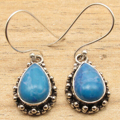 925 Silver Plated Beautiful Simulated LARIMAR Gemset Old Style Earrings UNUSUAL