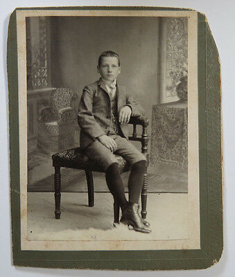 Antique Cabinet Photograph Boy Sitting on Chair Nice Painted Backdrop