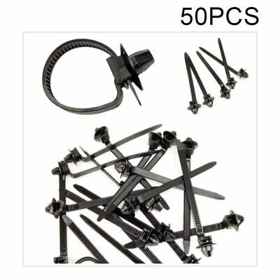50x Nylon Cable Tie Wrap Fixed Fastener Clips Car Hose Fastening Zip Strap Black