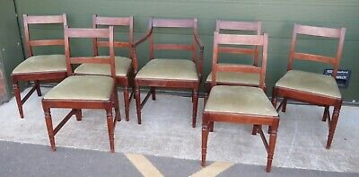 Set of 7 Antique Georgian Mahogany Dininig Chairs for Restoration, inc. 1 Carver