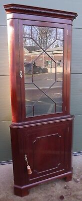 Redman & Hales Mahogany Astral-Glazed Corner Cabinet in the Antique Style