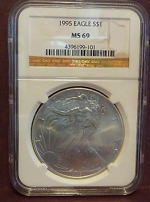 Nice Backdate 1995 Silver American Eagle NGC MS-69