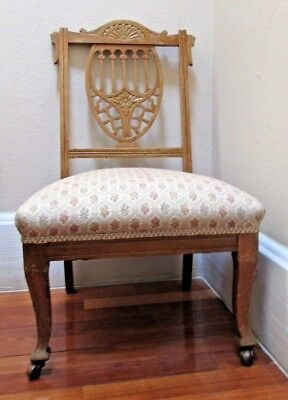 Antique Shield Back, Fireside Or Boudoir Slipper Chair , Free Pickup!