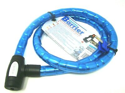 Oxford Barrier Armoured Bike Motorbike Cable Lock 1.4m x25mm Security OF146 Blue