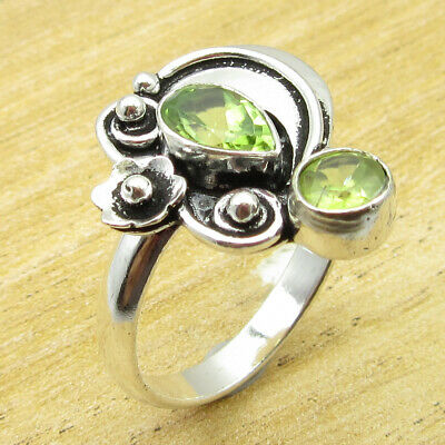 925 Silver Plated Amazing Peridot Glass ANTIQUE STYLE Ring Size 8.25 ! JEWELRY
