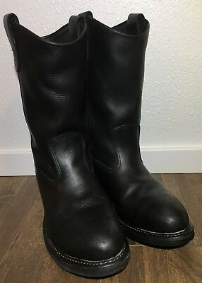 edc9d933580 DOUBLE H BOOTS Ranchwell Men's Black Leather Pull On Roper Boots Size 7EE  GR06