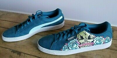 e0bbb78730c New PUMA Size 13 Court Classic Skull Patch Suede Sneakers Shoes Teal Mardi  Gras