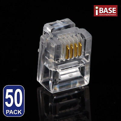 50x RJ11 Connector Modular Plug Gold-Plated Crimp 6P4C Telephone ADSL Network
