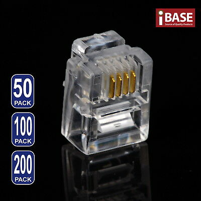 RJ11 Modular Connector Plug Gold-Plated Crimp 6P4C Telephone ADSL Phone Network
