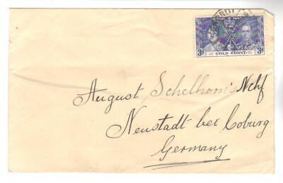 9549- Gold Coast, British Colonies cover to Germany Scott 114 Coronation  -