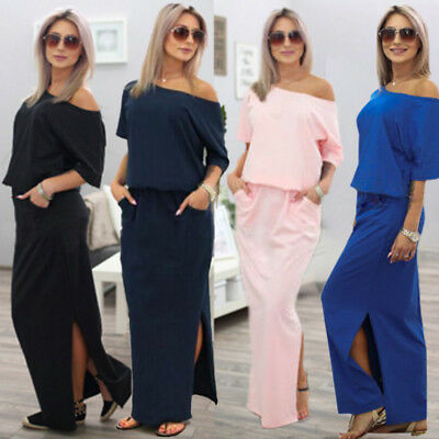 CA Womens One Shoulder Split Maxi Dress Party Summer Beach Casual Long Dresses