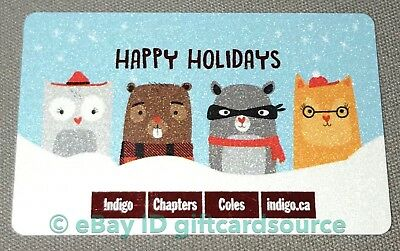 Indigo Chapters Coles Gift Card Holiday 2018 Owl Beaver Raccoon Cat No Value New