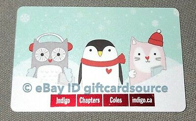 Indigo Chapters Coles Gift Card Holiday 2018 Owl Winter Penguin Cat No Value New