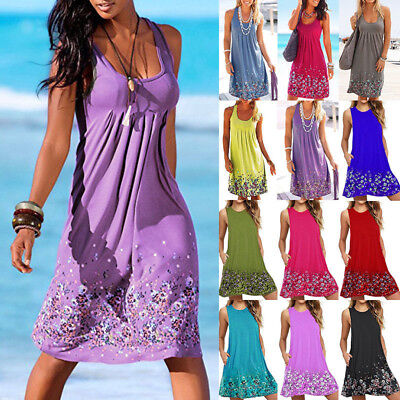 Plus Size CA Boho Womens Floral Summer Beach Wear Sundress Ladies Cover UP Dress