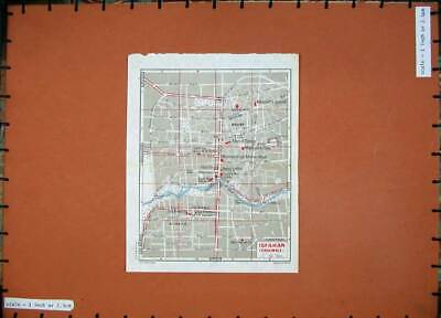 Original Old Vintage Print 1965 Colour Map Street Plan Isfahan Middle East 20th