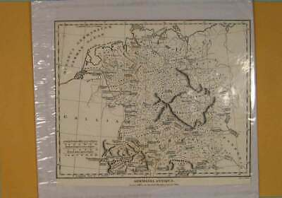 Original Old Antique Print Germania Germany German Geographical Map Maps C1807