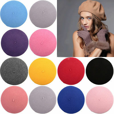 Stylish Women Lady's Soft Felt Thermal Beret Beanie Solid Hat Cap 10 Colors Gift