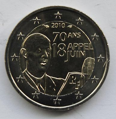 FRANCE - 2 € commemorative euro coin  2010 General De Gaulle's Appeal of 18 June