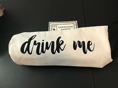 """Beige Canvas Wine Bottle Carry Tote Bag That Says """"Drink Me"""" Heavy Duty Sturdy"""