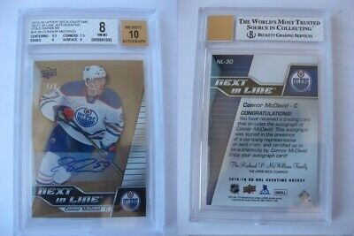 2015-16 UD Overtime NL30 Connor McDavid 1/3 next in line BGS 10 auto RC Rookie