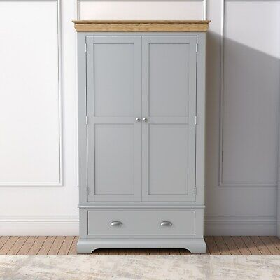 Grey 2 Door Double Wardrobe Oak Top 1 Drawer Solid Wood Bedroom Furniture